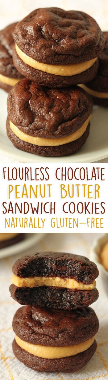 Flourless Chocolate Peanut Butter Cookie Sandwiches (grain-free, gluten-free and dairy-free)