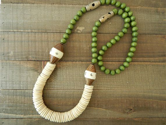 Olive Green jewelry bohemian wooden necklace Green Beaded Necklace