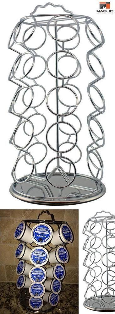 Holder Coffee Pods 35 cup Organizer Rack Storage spinning Carousel Chrome New #MagJo