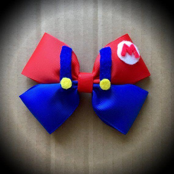 Super Mario Character Inspired Blue Mario Cartoon Hair Bow Disney Hair Bows Making Hair Bows Diy Hair Bows