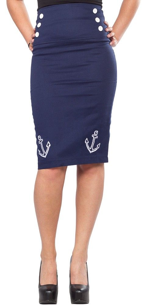 COLLECTIF AHOY SKIRT NAVY This fun pencil skirt will have you sailing in no time! This knee length skirt features a high waist.