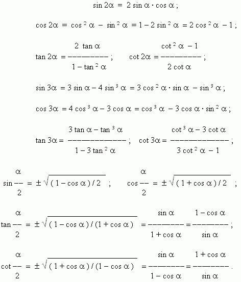 Вся элементарная математика - Учебное пособие - Тригонометрия - Формулы двойных, тройных и половинных углов ...