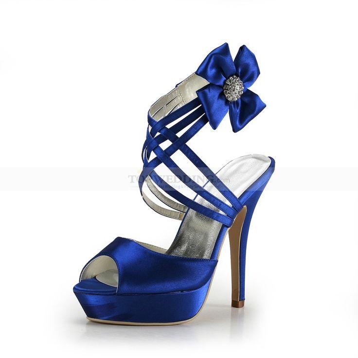 Blue Satin Platform Wedding Sandals with Floral Strap