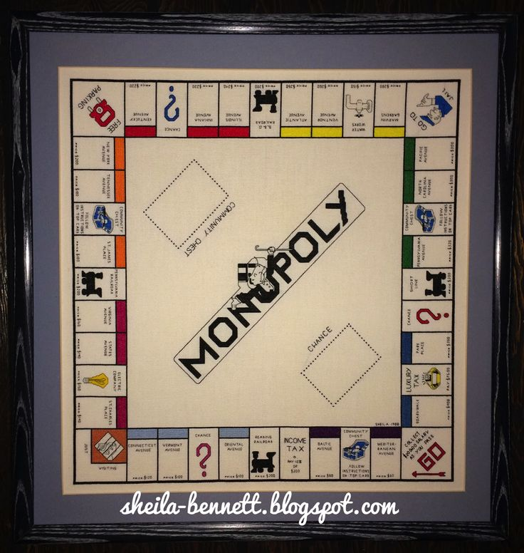 Cross-Stitch Monopoly board