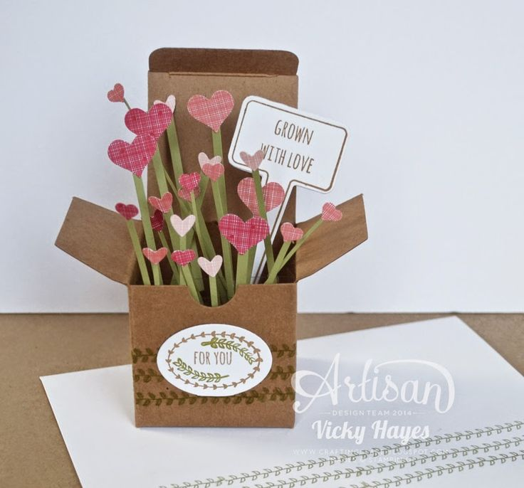 Using the ready-made Tiny Treat Box cuts down the time it takes to make the popular card in a box! - Vicky Hayes