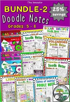 """Doodle Notes"" - BUNDLE 2 !! ..................................................... This MASSIVE doodle notes NO PREP Bundle-2 is a compilation of 10 of my doodle notes packs for grade 5 to 8 with 25% SAVINGS!!! This bundle provides tons of hands-on and interactive learning for"