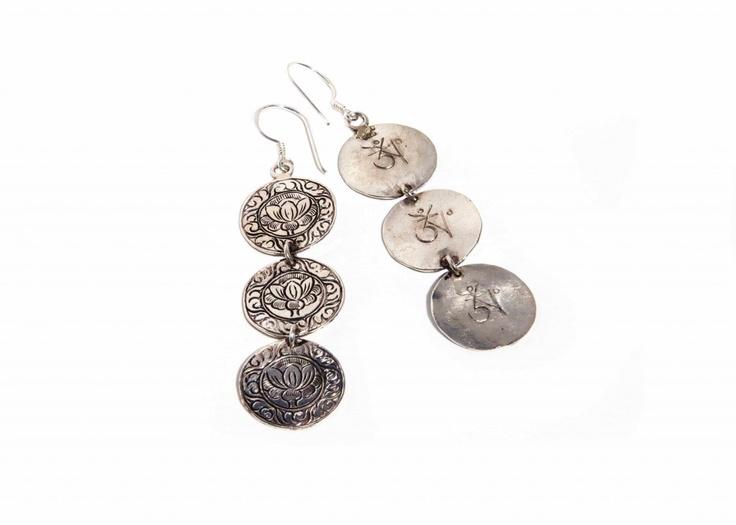 3 disc lotus flower earrings, with Tibetan Ohm symbol on back.