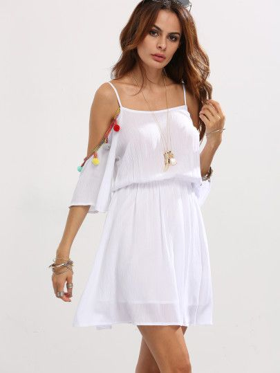 White Cold Shoulder Pom Pom Trim Dress