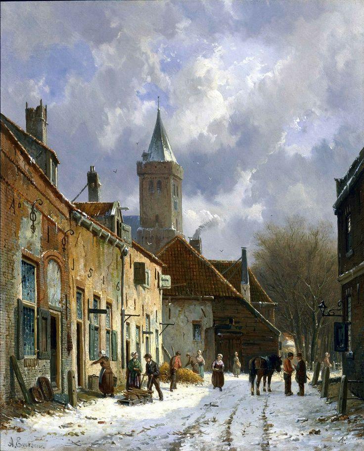 A Dutch street scene Adrianus Eversen .