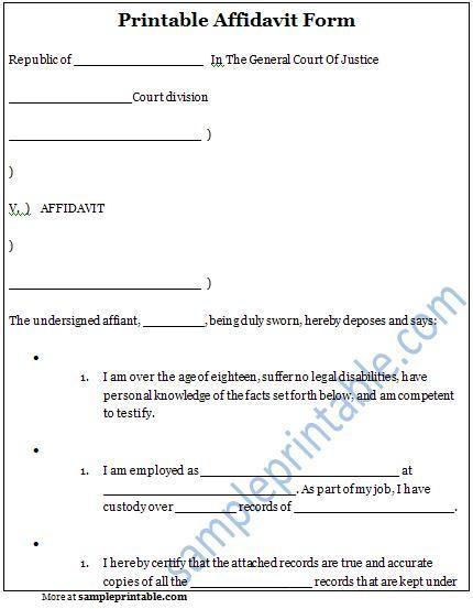 Free Blank Affidavit Form Affidavit Form Printable