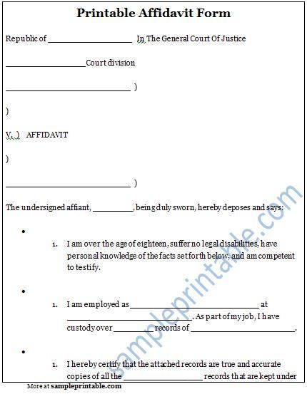 17 Best images about Legal Forms – Free Affidavit Form Template