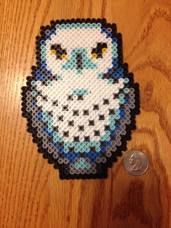 Hedwig Harry Potter Snowy Owl perler beads by Thingamabobcrafts