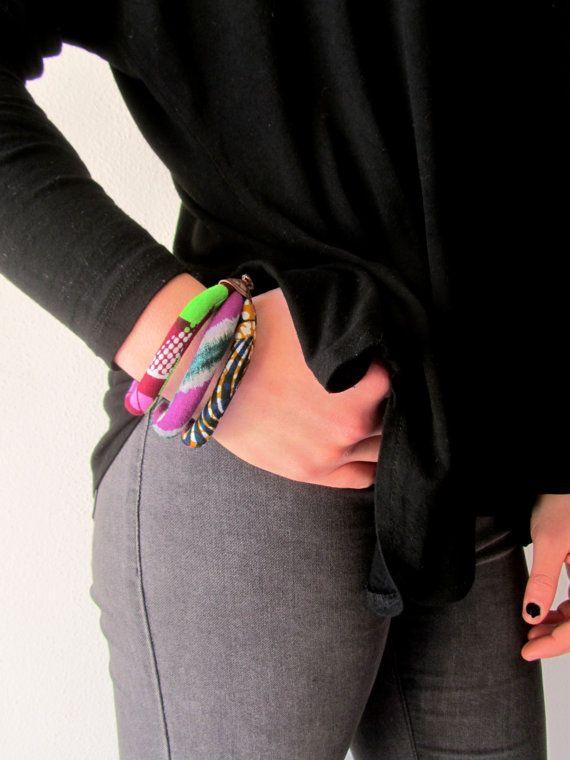 Roze Manchet armband - Afrikaanse Print Batik textiel sieraden
