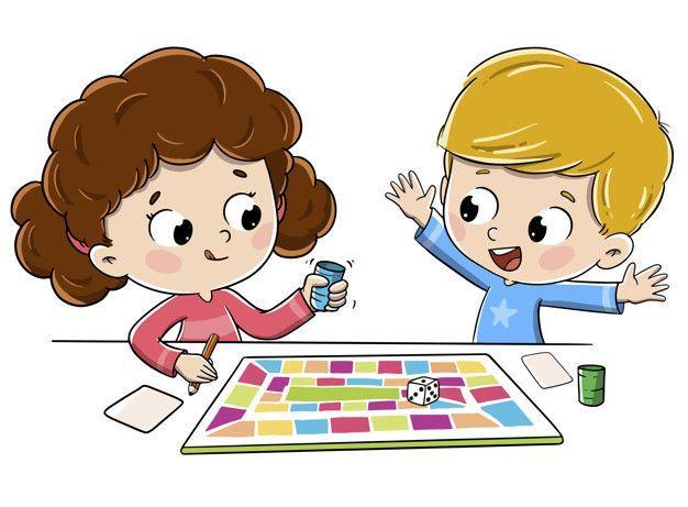 Los Ninos Juegan Un Juego De Mesa Vector Pr Premium Vector Freepik Vector Los N Art Drawings For Kids Cartoon Kids Kids Playing