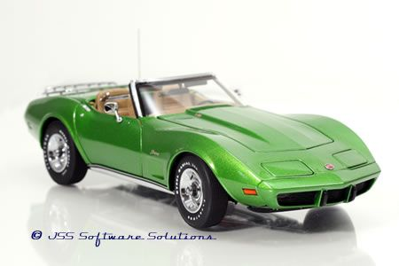 PhillyMint Diecast - Danbury Mint 1975 Corvette Convertible Bright Green 1:24th Scale Diecast Model
