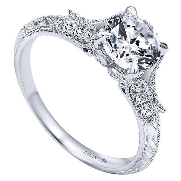 Elizabeth 18k White Gold Round Split Shank Engagement Ring angle 3