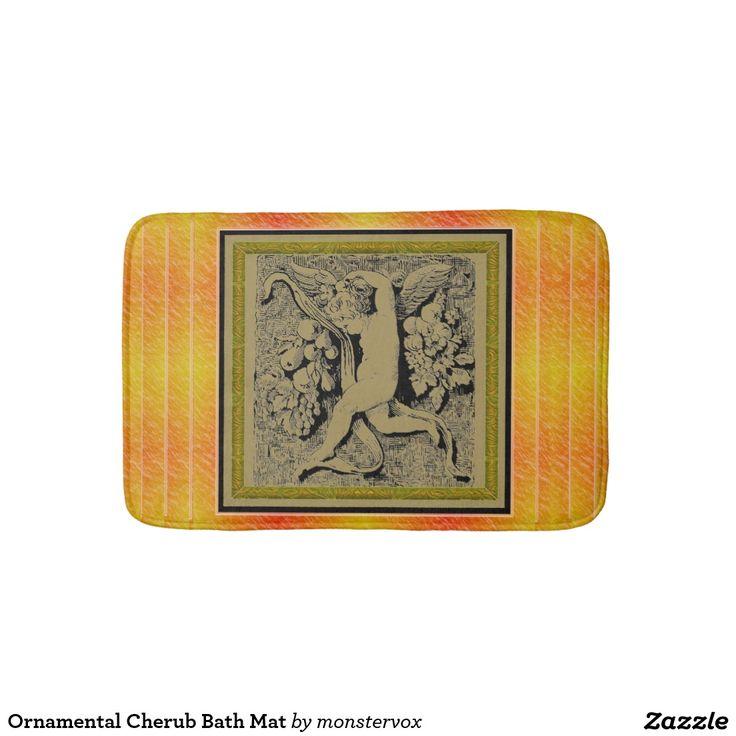 Ornamental Cherub Bath Mat Bath Mats #Ornament #Cherub #Stone #Love #Art #Bath #Bathroom #BathMat #Mat
