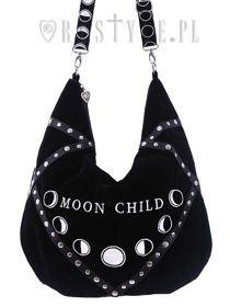 """Sack Bag """"MOON CHILD"""" Black velvet hobo bag, moon phases embroidery"""