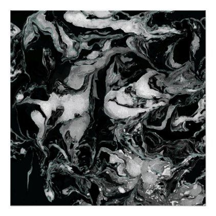 Black and white Marble texture Liquid paint art Poster - black and white gifts unique special b&w style