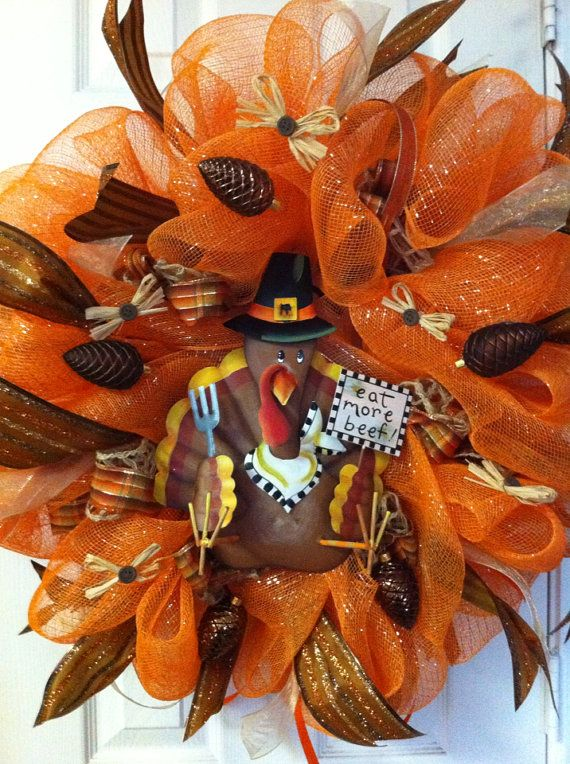 Thanksgiving mesh wreath | Deco Mesh Metal Turkey Wreath