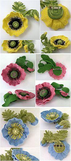 Tunisian flowers/poppies - original tutorial here http://www.liveinternet.ru/users/4889066/post304996650/
