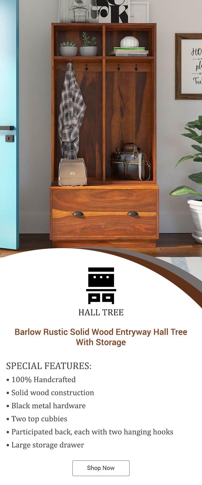 Barlow Rustic Solid Wood Entryway Hall Tree With Storage Hall Tree With Storage Entryway Hall Tree Hall Tree