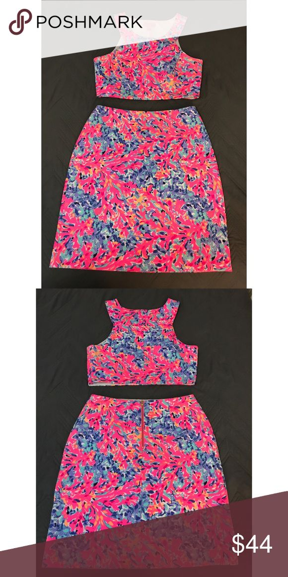 Lilly Pulitzer Mallika Set Lilly Pulitzer Mallika Set in Coco Coral Crab size M! Worn once! Lilly Pulitzer Skirts Skirt Sets
