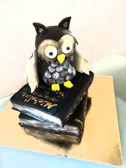 Cake#owl#book#birthday#chocolate#caramel#Czech#miss.enemy