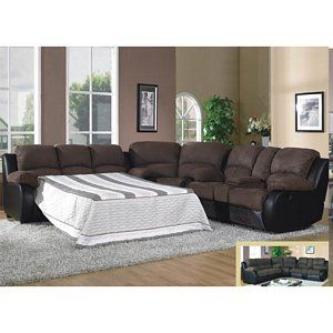 1489 Modern Brown Microfiber Sleeper Reclining Sofa Sectional With Console Living Room Recliner