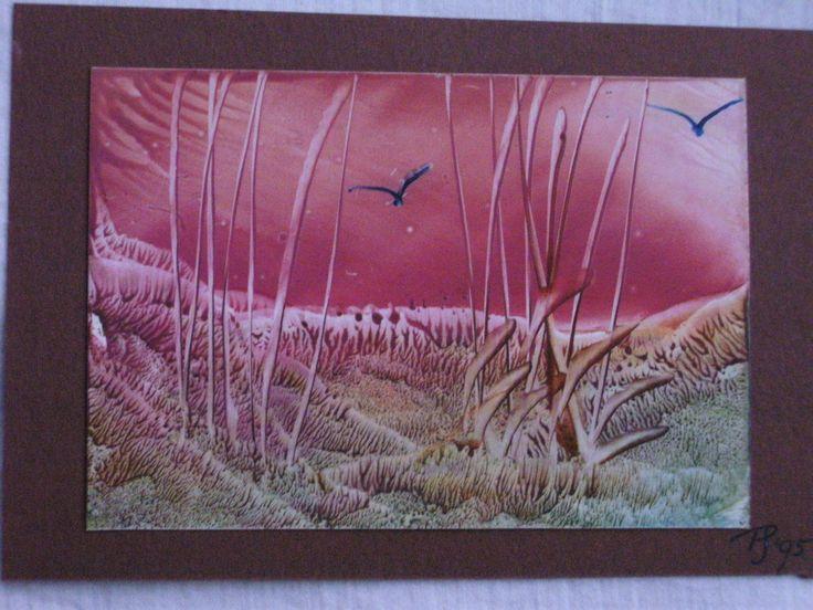"""Kaartformaat schilderijtje, """"Schemering op de Heide."""" Door Petra Janssen."""