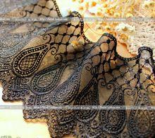 2 Yardas de Alta Calidad de Lujo Amplia Negro Tejido De Malla para la Ropa Interior Del Vestido Del Ajuste Del Cordón 10 cm Ancho(China (Mainland))