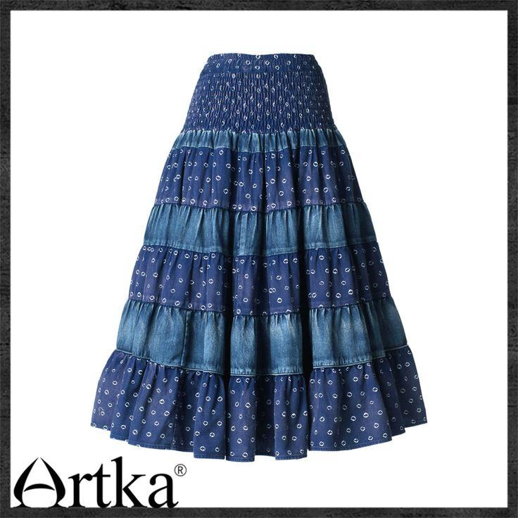 Длинная юбка-солнце с джинсовыми вставками Artka