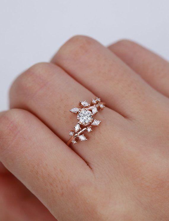 Rose gold engagement ring Diamond Cluster ring Unique moissanite Delicate leaf wedding women Bridal set Promise Anniversary Gift for her