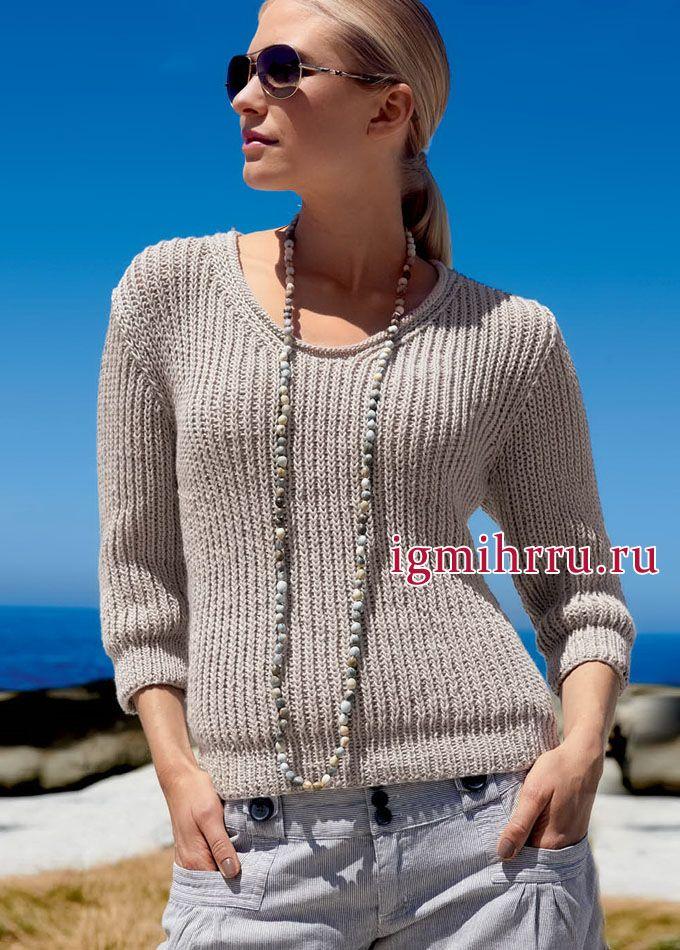 Для прохладных летних вечеров. Бежевый пуловер с полупатентным узором. Вязание спицами