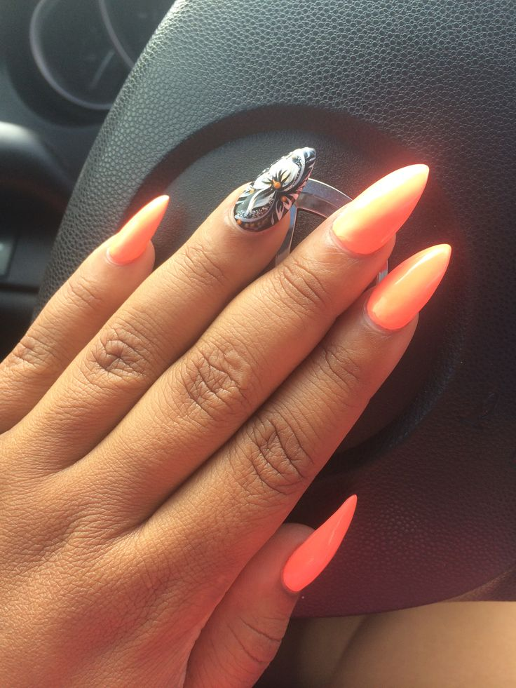 pointed nails bright color nail
