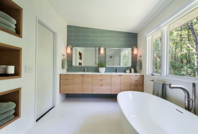 Innovative Floating Double Vanity Bathroom Midcentury With Midcentury Modern Pendant Light Brown Mirrors, Being
