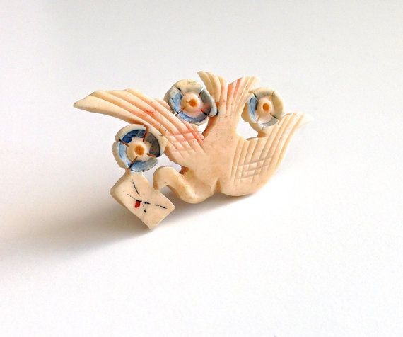 """Delightful Antique Victorian Carved Love Bird Swallow  """"Return to Me"""" Forget-Me-Not Brooch Pin - C Clasp"""