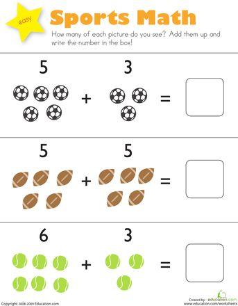 sports math  printables  math math worksheets kindergarten math