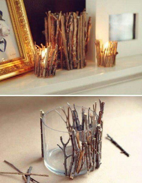 Twig candle holders- super easy- just hot glue little twigs to glass or plastic candle holders (any size) for a rustic feel