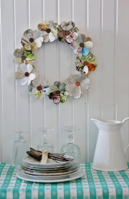 Flower Patch Farmgirl: DIY Heart Punch Magazine/Book Wreaths
