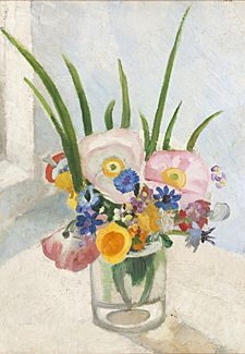 """""""Flowers in a Glass Jar"""" by Winifred Nicholson, c. 1925 (oil on canvas)"""