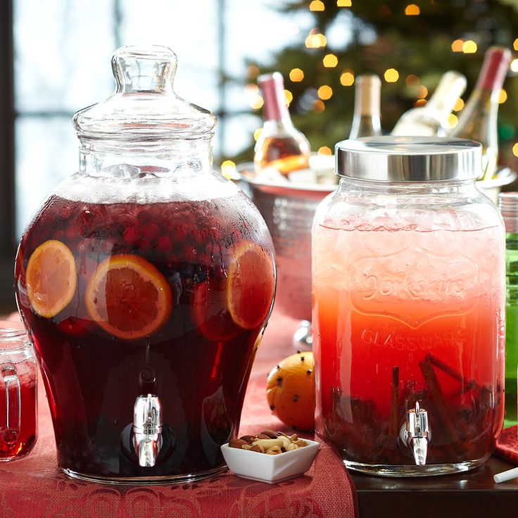 Easy drink station idea: Sangria or rum punch in drink dispensers