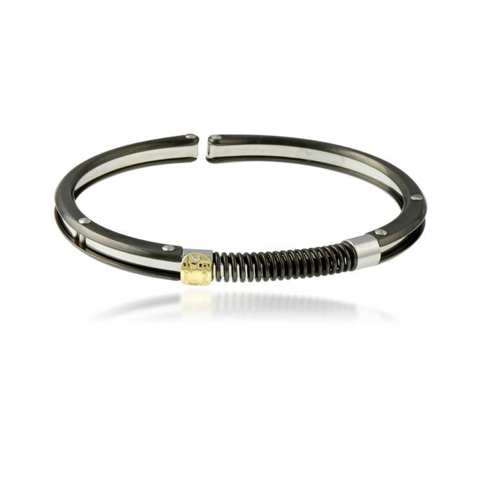 This stainless steel bracelet comes with 18k yellow gold and diamonds logo.