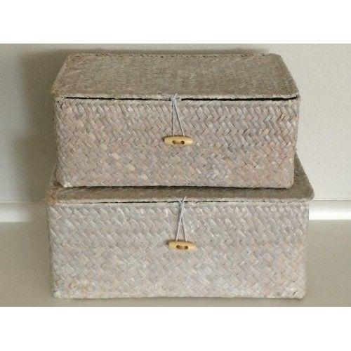 Rattan Box set of 2 (whitewash)