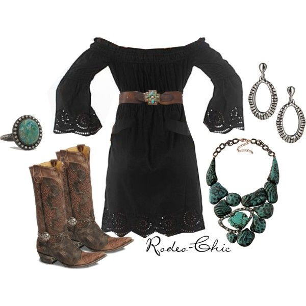 U0026quot;Stampedeu0026quot; by rodeo-chic on Polyvore Old Gringo cowboy boots with off shoulder dress turquoise ...