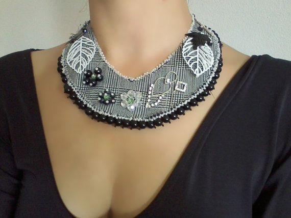 Black and White Necklace #Big #Necklace #Handmade Jewelry