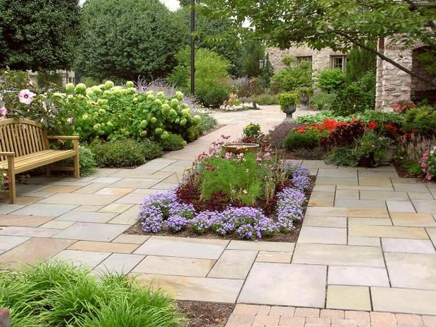 Flower bed within the patio more often than not for Garden ideas for large areas