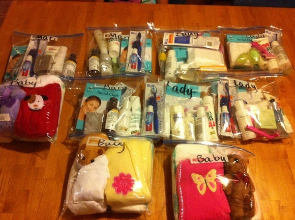 Large Ziploc bags filled with small items like hygiene products and baby supplies are wonderful Blessing Bags for the homeless.
