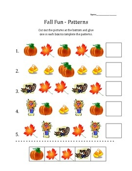 Set of 9 printable worksheet activities for the autumn/fall season! Included are an ABC activity, Patterns, Draw a Pumpkin Face (following directions & listening), Candy Corn Estimation, Logic Puzzles, Word Matching, Wordsearch, Hidden Picture Graph, and a poem template for students to practice using adjectives!