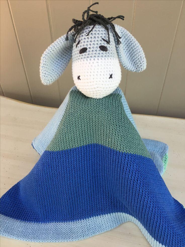 Donkey Lovey Mini Blanket.100% cotton. Machine washable. www.thebabyblanketlady.com